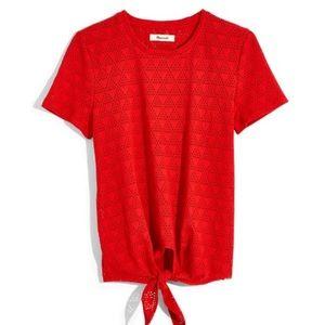 Madewell Modern Tie-Front Tee Geo-Eyelet Red Sz M